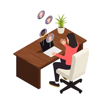 Online virtual team building isometric composition with female worker talking to virtual coworkers in laptop  illustration