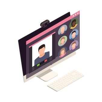 Composizione isometrica in team building virtuale online con l'immagine del computer con la fotocamera e l'illustrazione dell'app per riunioni online