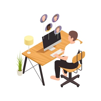 Online virtual team building isometric composition with male worker sitting at computer table with coworker avatars  illustration