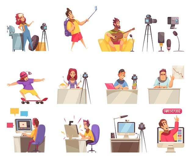 Online vlogger icon set