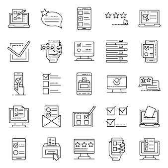 Online vote icons set, outline style