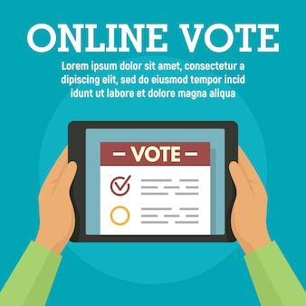 Online vote on tablet template, flat style