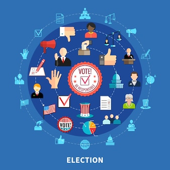 Online voting circular icons set