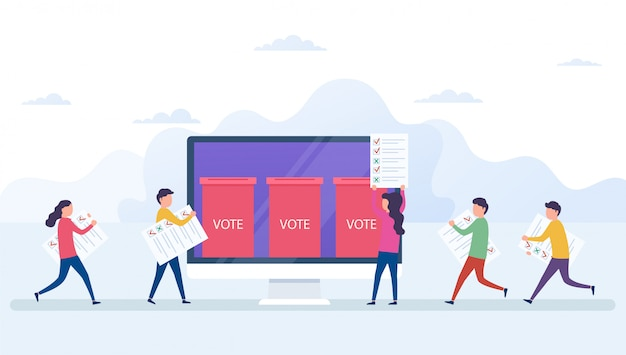 Online voting concept, electronic voting system with computer screen