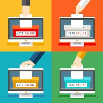 Набор рук онлайн-голосования. удаленное голосование и технологические инновации