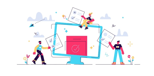 Иллюстрация мини-людей онлайн-голосования