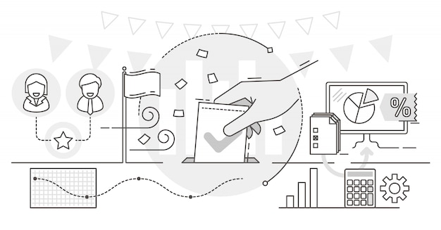 Online voting, outline concept illustration Premium Vector