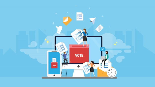 Online voting tiny people character concept vector illustration