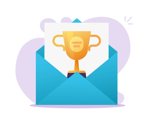 Online web award email received  or digital mail with winner internet prize achievement