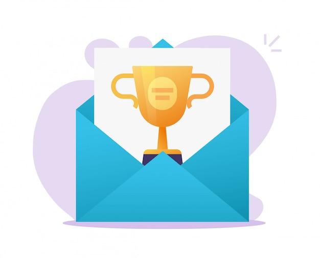 Получено электронное письмо с онлайн-премией или электронная почта с победителем интернет-приза