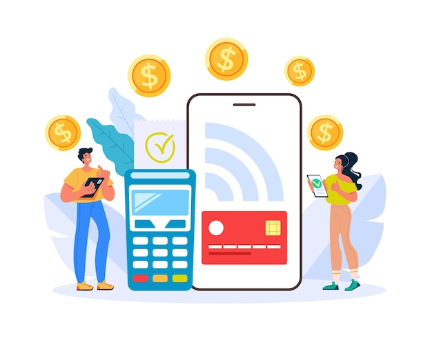 Online web internet digital money transaction by terminal and smartphone illustration