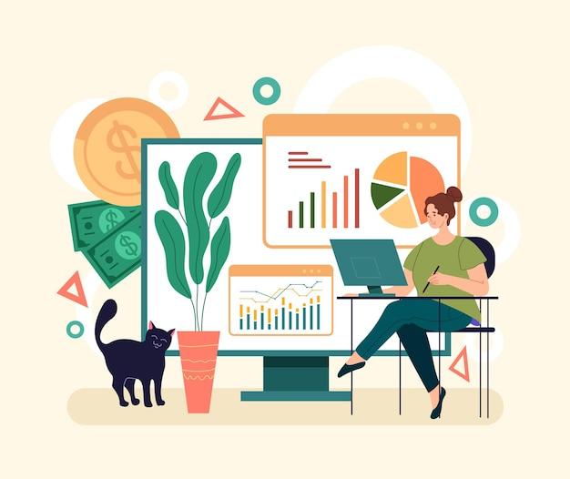 オンラインウェブインターネット財務分析の概念。シンプルでモダンなスタイルのグラフィックデザインのイラスト