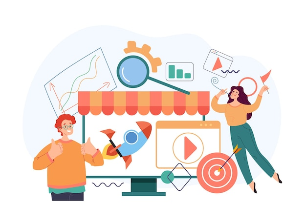 Online web internet marketing store trading start up new business concept