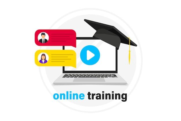 オンラインウェビナーのコンセプト、遠隔教育。生放送。オンラインウェビナー。ビデオ会議。ラップトップでのオンライントレーニング。ノートの卒業帽子。ビデオチャット、ポッドキャスト、オンラインコース、ビデオ講義