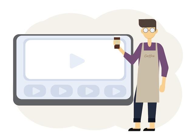 コーヒーショップの所有者のためのオンラインウェビナーイラスト