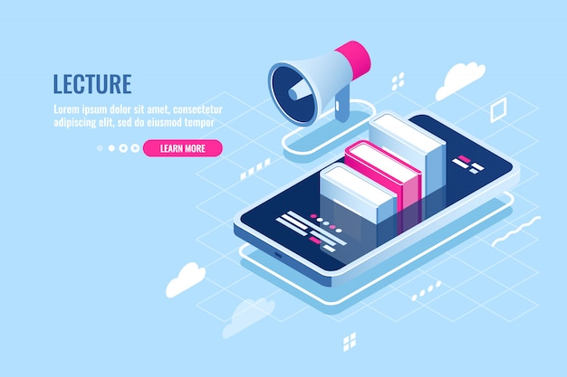 Online webinar isometric icon, internet course, mobile phone with book on screen