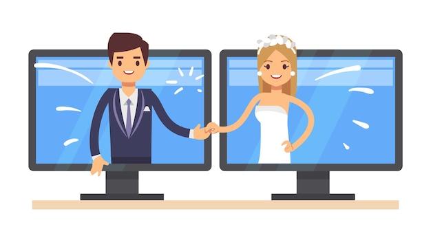 オンラインウェディング。かわいい漫画の新婚夫婦、若い男性女性の笑顔。ちょうどコンピュータ画面のベクトル図で結婚しました。結婚式が大好き、ロマンチックな漫画のコミュニケーション