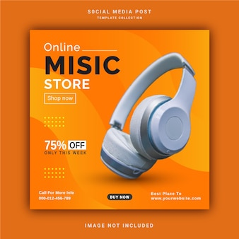 Online wireless music store instagram post banner social media post template