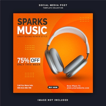 Online wireless with bluetooth sparks music store instagram post banner social media post template