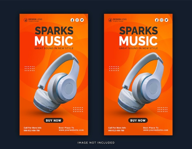 Online wireless with bluetooth sparks music store instagram post social media post template
