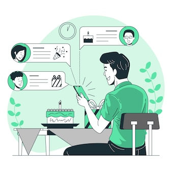 Illustrazione di concetto di desideri online