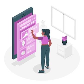 Illustrazione di concetto di elenco di desideri online