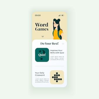 온라인 단어 크로스 워드 퍼즐 스마트폰 인터페이스 벡터 템플릿입니다. 모바일 앱 페이지 흰색 디자인 레이아웃입니다. 일일 언어 퀴즈 및 게임 화면. 응용 프로그램에 대한 평면 ui. 어휘력을 향상시킵니다. 전화 디스플레이