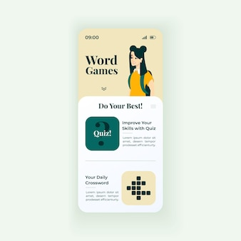 Online word crosswords smartphone interface vector template. mobile app page white design layout. daily language quizzes and games screen. flat ui for application. improve vocabulary. phone display