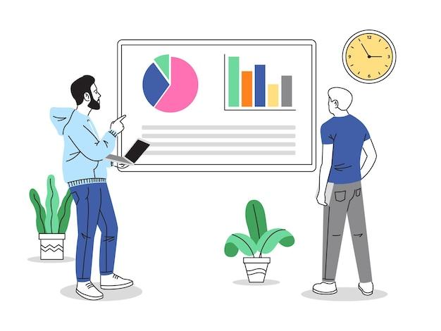 온라인 작업 협업 일러스트레이션