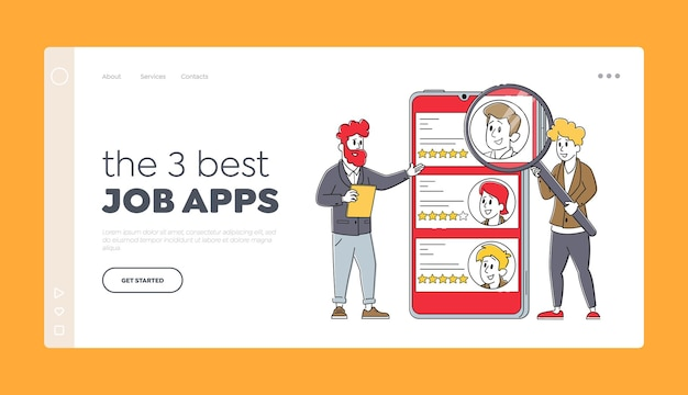 Online work hiring app, recruitment and headhunting landing page template