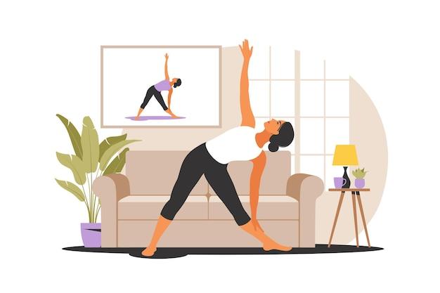 オンラインワークアウトの概念。自宅でヨガをしている女性。テレビでチュートリアルを見る。居心地の良いインテリアでのスポーツエクササイズ。ベクトルイラスト。フラット。