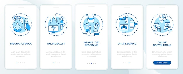 Online workout programs onboarding mobile app page screen with concepts. yoga, weight loss, ballet walkthrough  steps . ui  template with rgb color