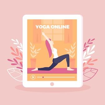 Online yoga class concept in flat design