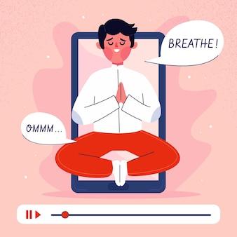 Online yoga class concept flat design