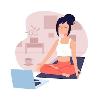 노트북과 여자와 온라인 요가 클래스 개념