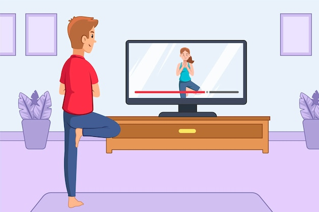 Online yoga class concept with man and tv