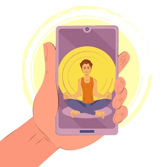 Online yoga class concept with smartphone