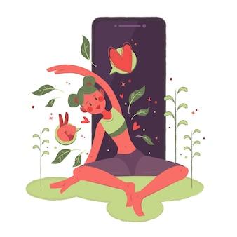 Концепция занятий йогой онлайн с женщиной и смартфоном