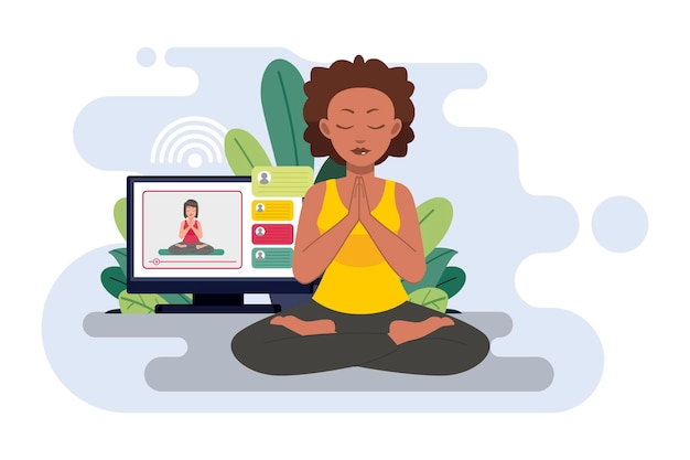 Online yoga class concept with woman