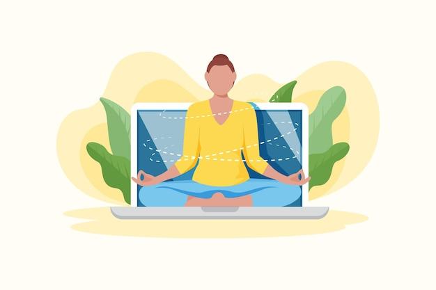 Online yoga class concept
