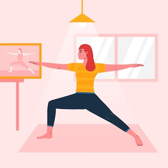 Online yoga class illustration