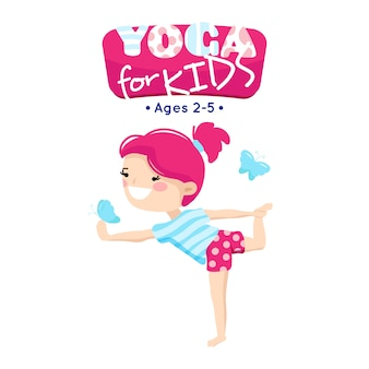 Online yoga classes for little children in blue pink cartoon style logo with smiling kid
