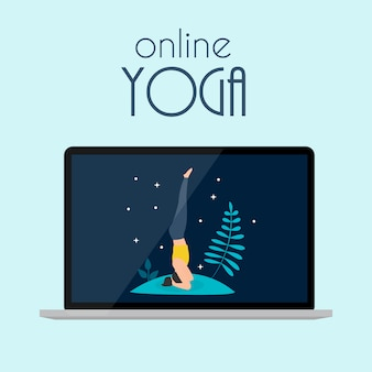 노트북으로 온라인 요가 개념. 삽화
