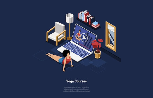 Online yoga courses cartoon illustration in 3d style.