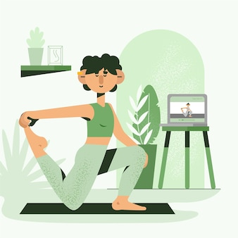 Online yoga lesson flat design