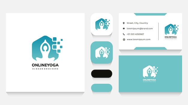 Online yoga logo template and business card