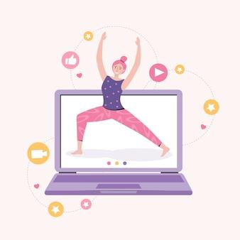 집에서 강사와 함께 온라인 요가. 개인 스포츠 훈련. 피트니스 블로그 및 운동 앱 개념. 여성 블로거는 운동을 보여줍니다. 활동적인 라이프 스타일과 스포츠 훈련. 삽화