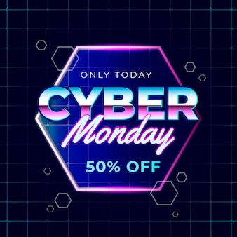 Only today cyber monday retro futuristic effect
