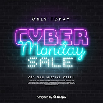Only today cyber monday sales in neon style Free Vector