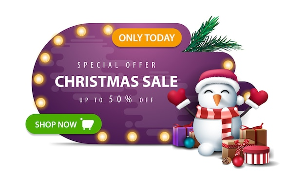 Only today, special offer, christmas sale, up to 50 off, purple abstract shape discount banner with bulb lights, green button and snowman in santa claus hat with gifts isolated on white background